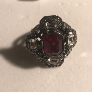 Swarovski Jewelry - Authentic Swarovski Art Deco  Red Ring 55.